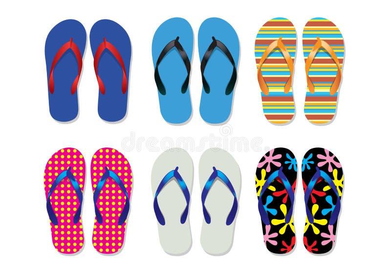 凉鞋海滩 向量例证