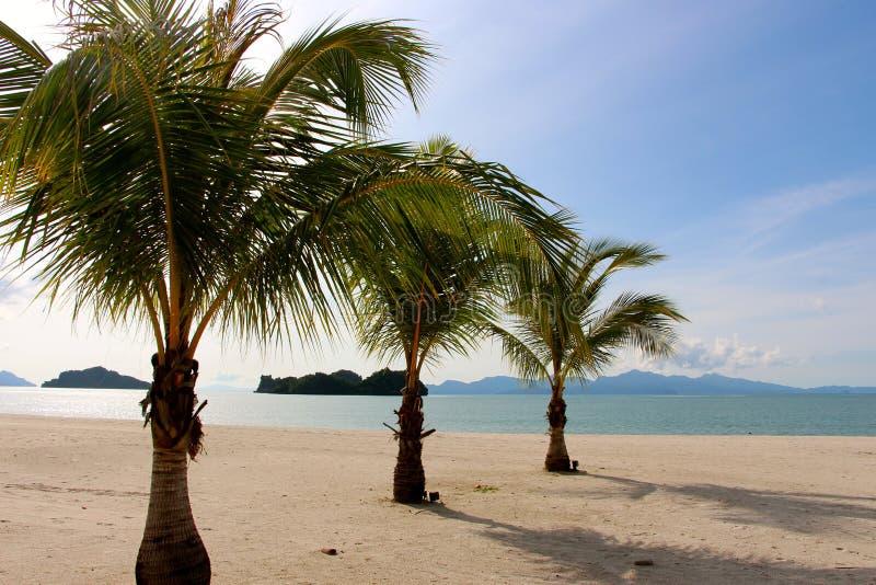 凌家卫岛海岛马来西亚离开的海滩 免版税库存图片