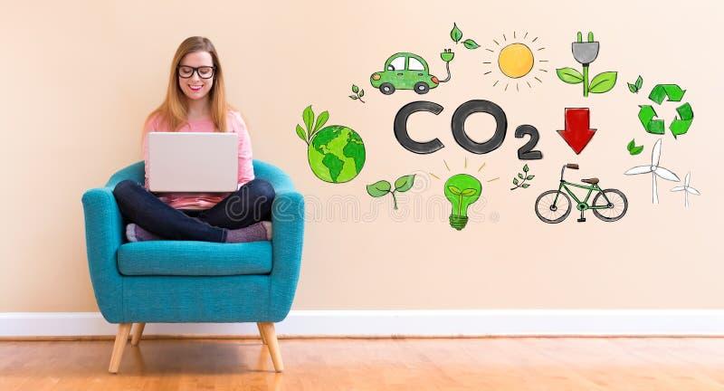 减少与使用她的膝上型计算机的少妇的二氧化碳 免版税库存图片
