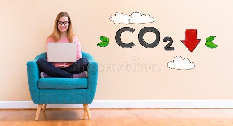 减少与使用她的膝上型计算机的少妇的二氧化碳 库存照片