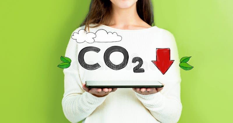 减少与拿着片剂的妇女的二氧化碳 库存照片