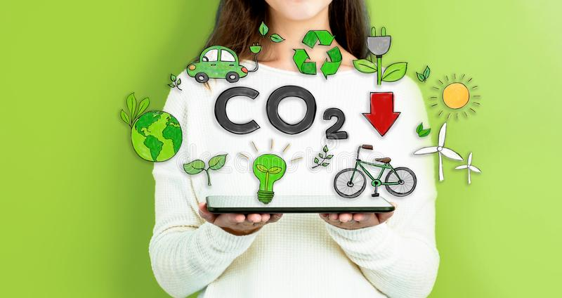 减少与拿着片剂的妇女的二氧化碳 免版税库存照片