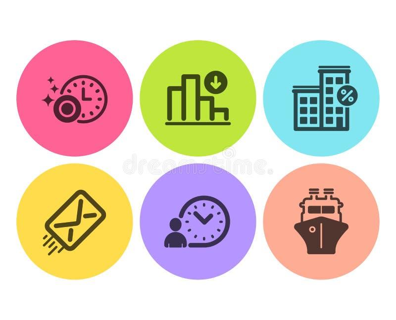 减少的图表、贷款房子和洗碗机定时器象集合 电子邮件、时间管理和船标志 ?? 向量例证