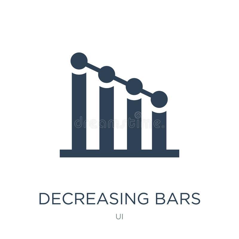 减少的长条图在时髦设计样式的象 在白色背景隔绝的减少的长条图象 减少的长条图 库存例证