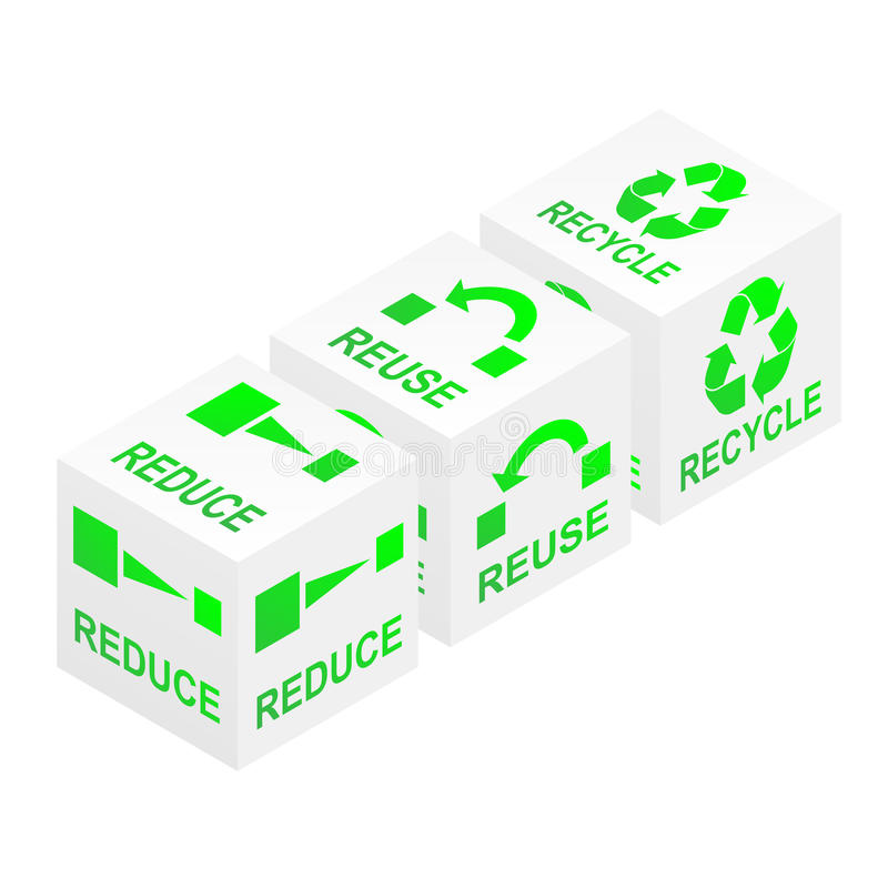 减少重新使用回收多维数据集 库存例证