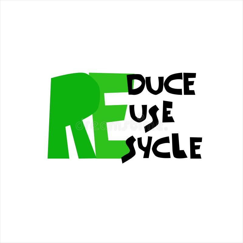 减少,重复利用,回收商标 聪明的消耗量概念 呼叫请求环境友好的生活 可再用的购物带来的设计 库存例证