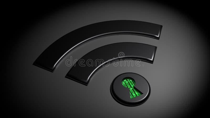 减弱的WPA 2 wifi网络cybersecurity概念 皇族释放例证