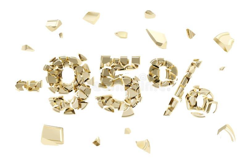 减百分之九十五折扣被隔绝的象征构成 向量例证