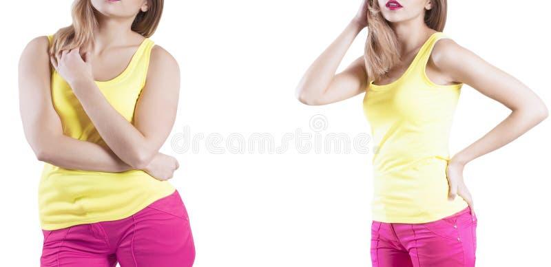 减肥在饮食概念超重前后的女孩 库存照片