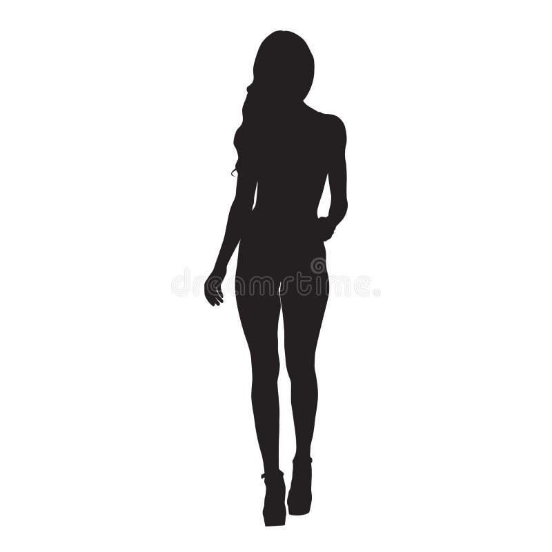 减肥高跟鞋鞋子的今后走性感的妇女 正面图 皇族释放例证