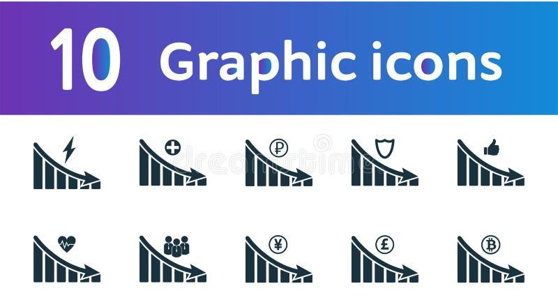 减退图表象集合 UI和UX 优质质量标志收藏 减退图表象设置了简单的元素用于a 向量例证