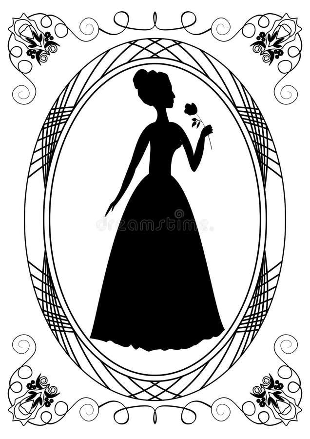 减速火箭与夫人剪影 与维多利亚女王时代的夫人的葡萄酒框架 单色图画 库存例证
