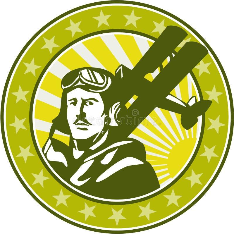 减速火箭世界大战1试验空军Spad双翼飞机的圈子 库存例证