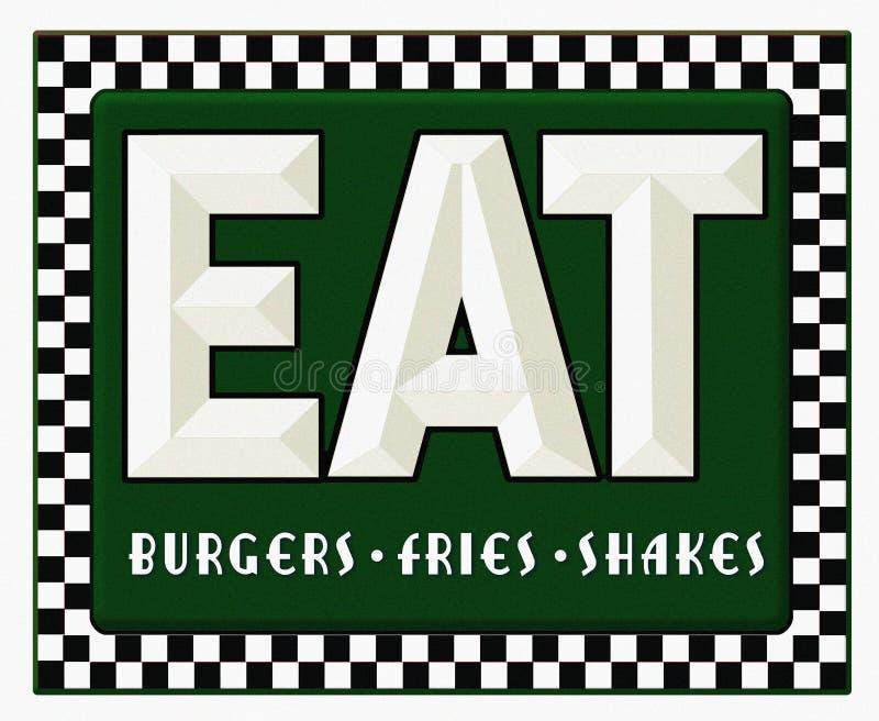 减速火箭吃饭的客人的标志吃汉堡油炸物震动 向量例证