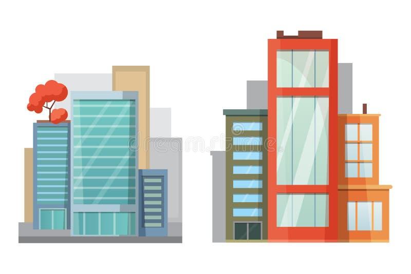 减速火箭和现代城市房子平的设计  老大厦,摩天大楼 五颜六色的村庄大厦,咖啡馆房子 库存例证