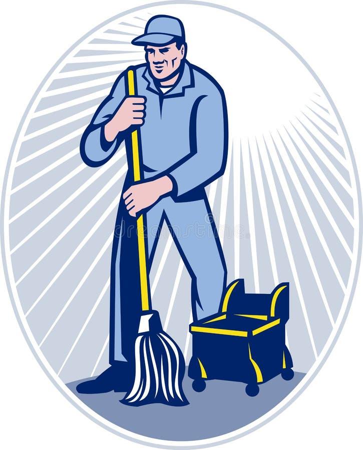 减速火箭更加干净的清洁门卫的拖把 向量例证