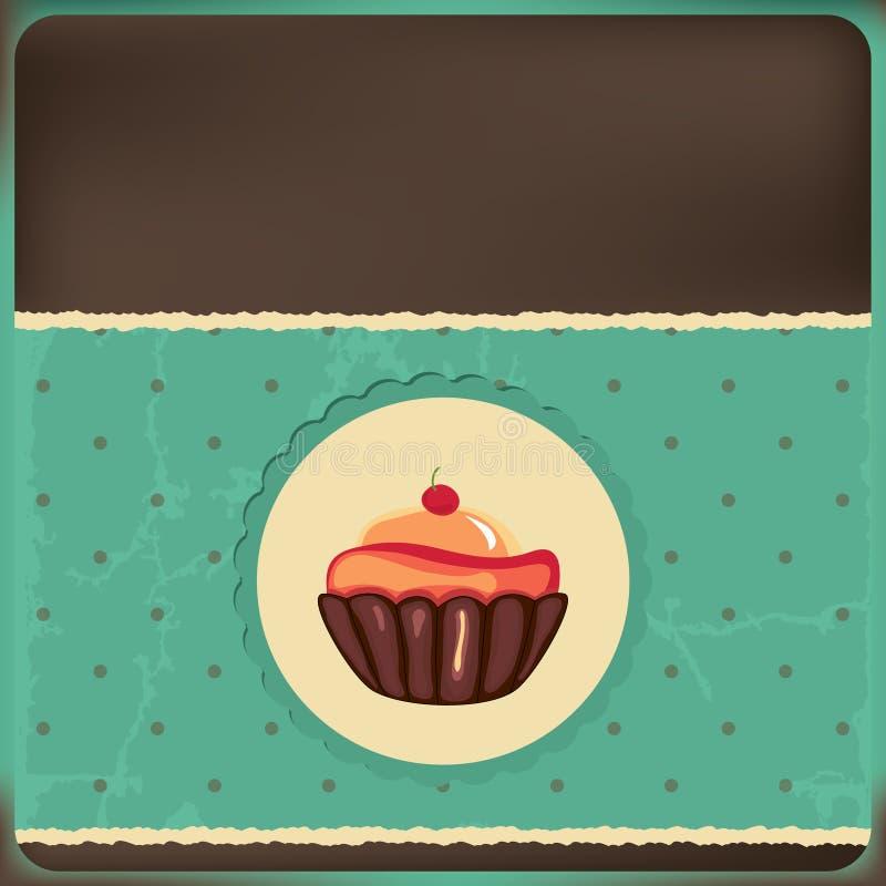 减速火箭杯形蛋糕逗人喜爱的框架 库存例证