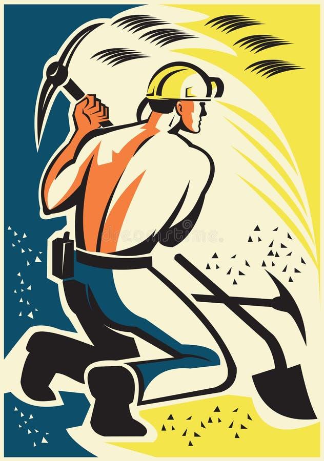 减速火箭煤矿工人采矿开掘的采撷的轴 皇族释放例证