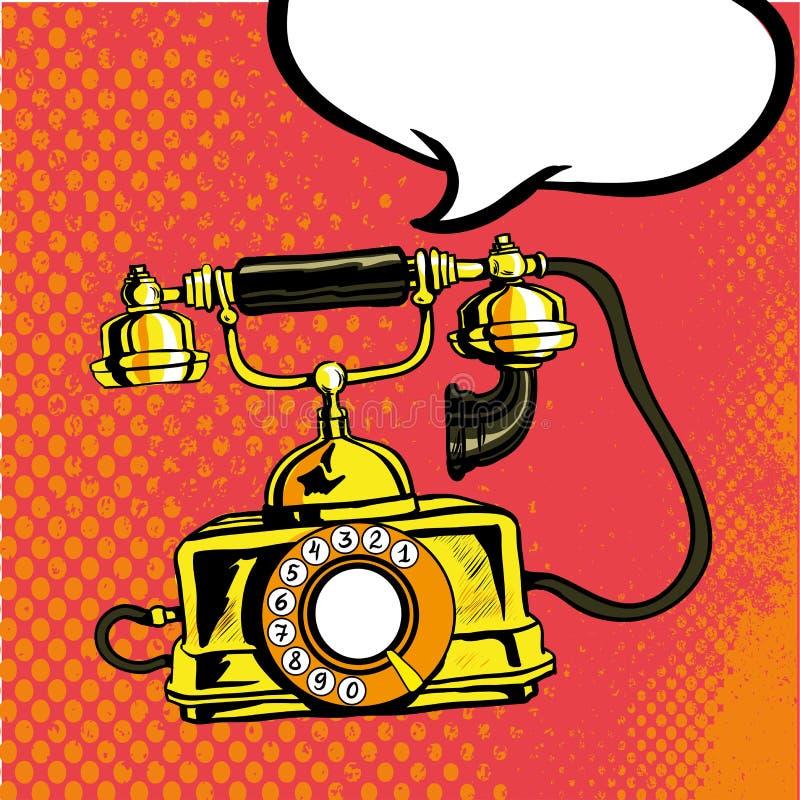 减速火箭电话敲响 在可笑的流行艺术样式的传染媒介例证 向量例证
