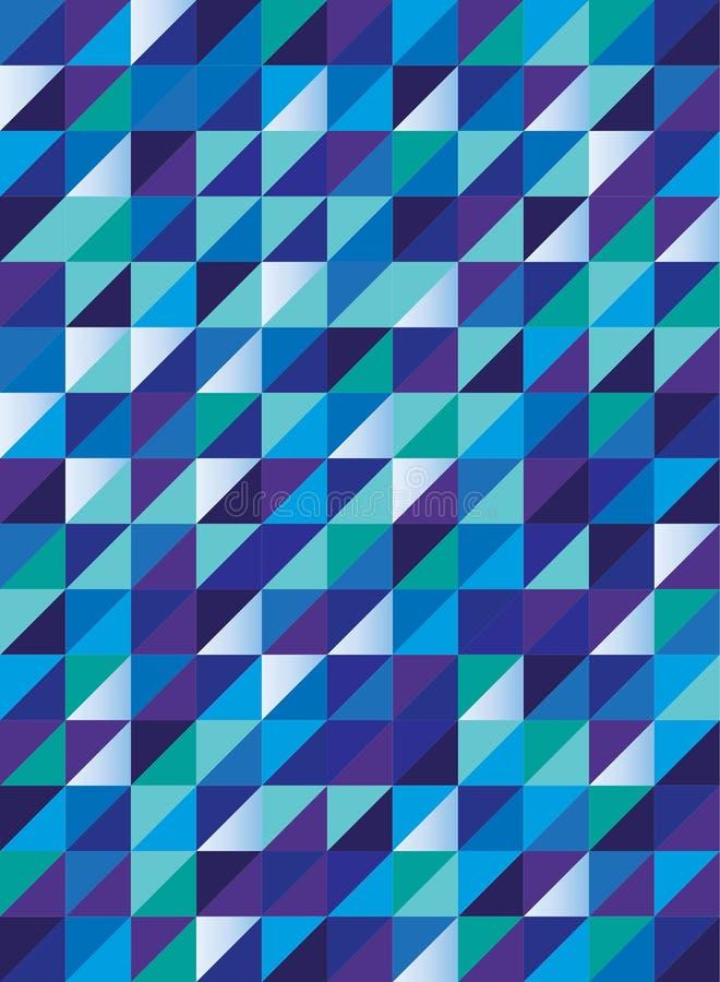 减速火箭的三角样式以蓝绿色和紫色,无缝的传染媒介 向量例证
