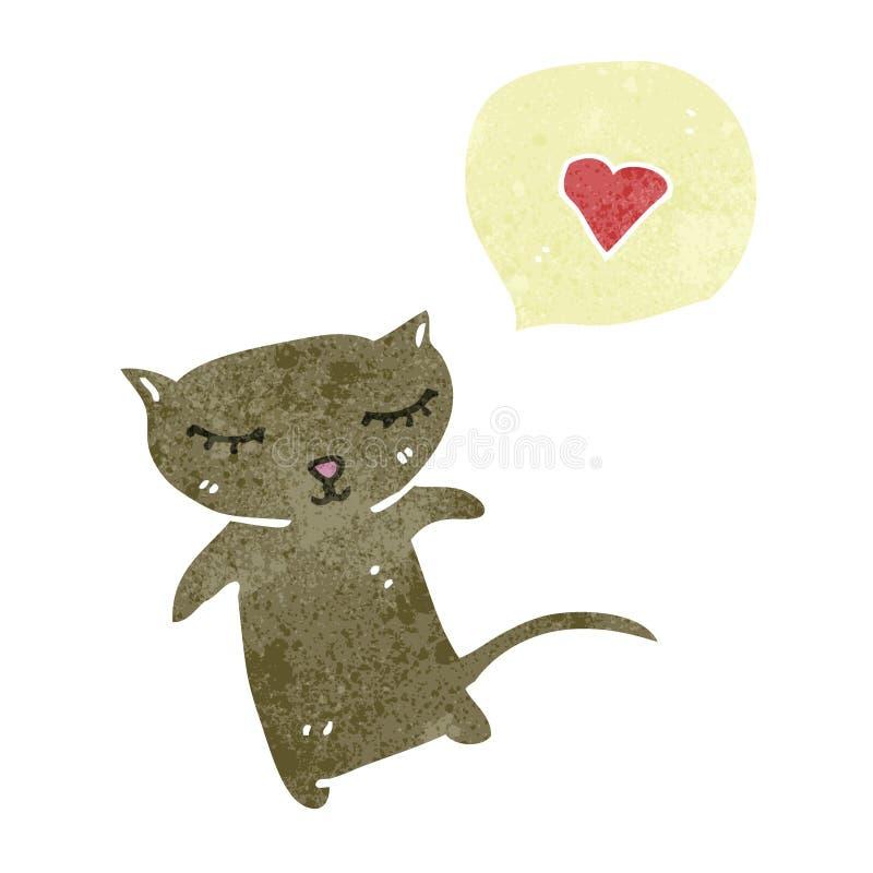 减速火箭的与爱心脏的动画片小的猫 向量例证