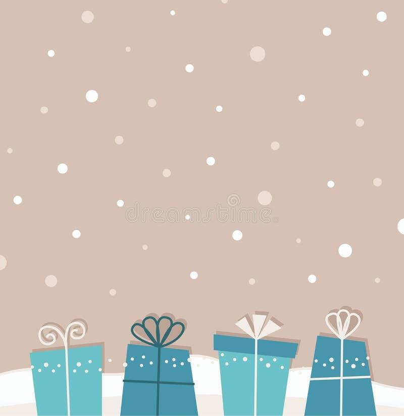 减速火箭的与礼品的圣诞节降雪的背景 库存例证