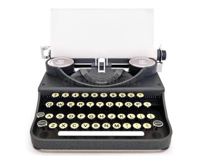 减速火箭的与纸张的葡萄酒打字机正面图 库存照片