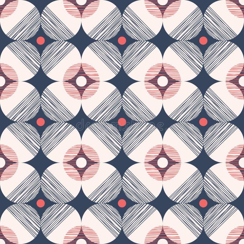 减速火箭的与织地不很细圈子的Mod样式传染媒介无缝的样式在深蓝背景 时髦的几何图表印刷品 向量例证