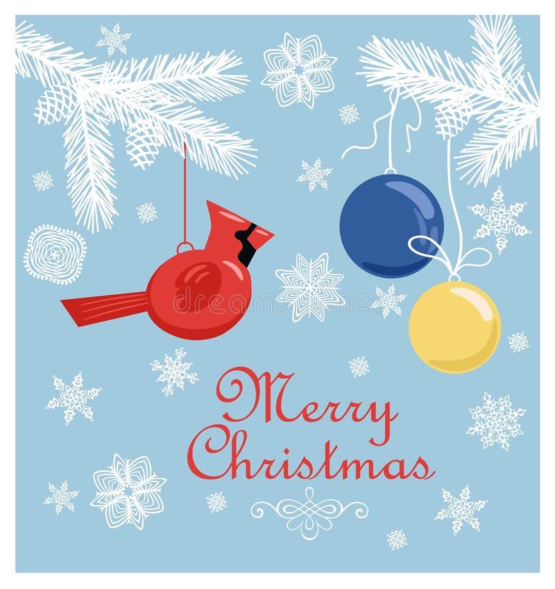 减速火箭的与被删去的纸冷杉分支、雪花、垂悬的北主要鸟玩具和球的圣诞节淡色卡片 向量例证