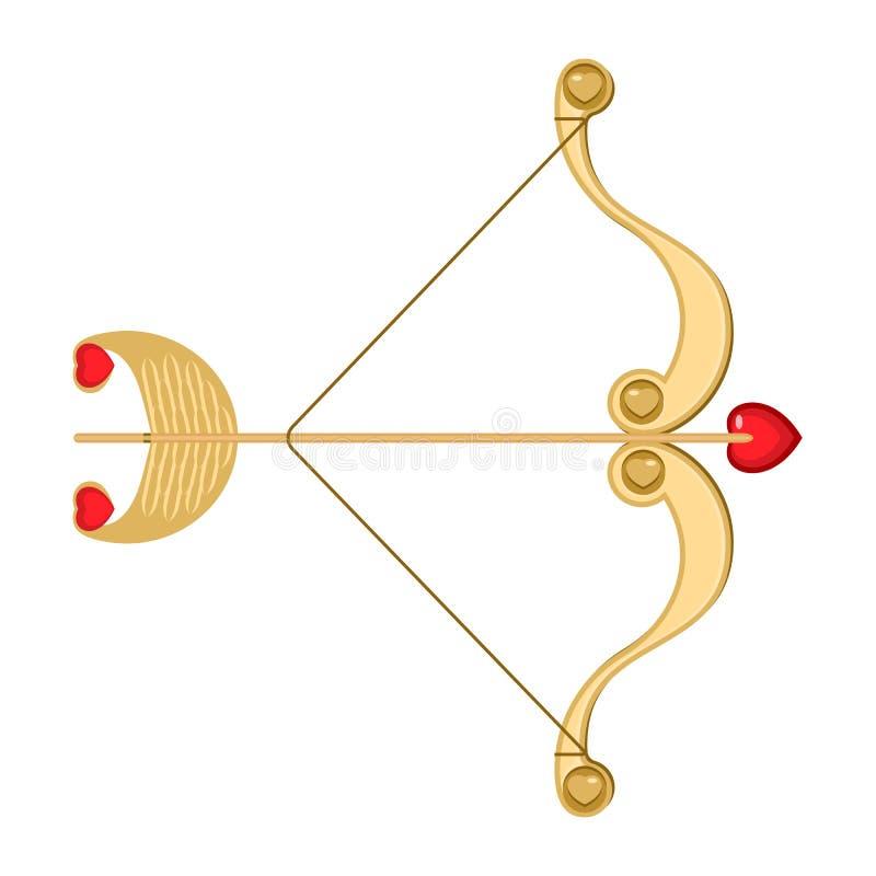 减速火箭的丘比特弓箭与心脏和装饰曲拱 库存例证