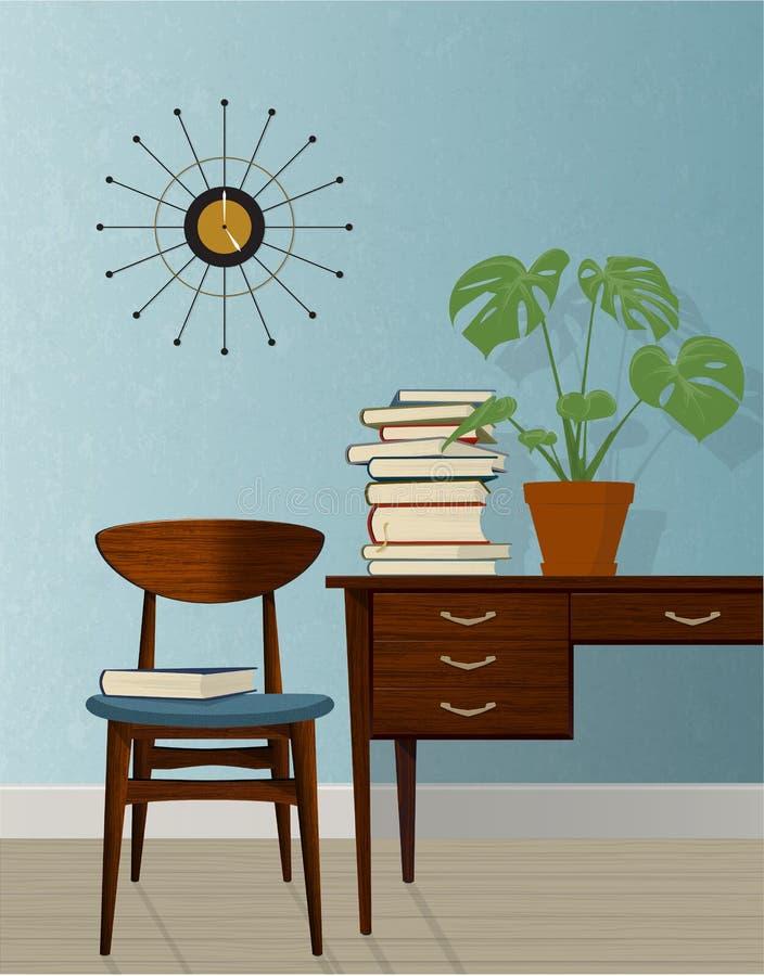 减速火箭的中世纪现代家庭办公室场面 向量例证