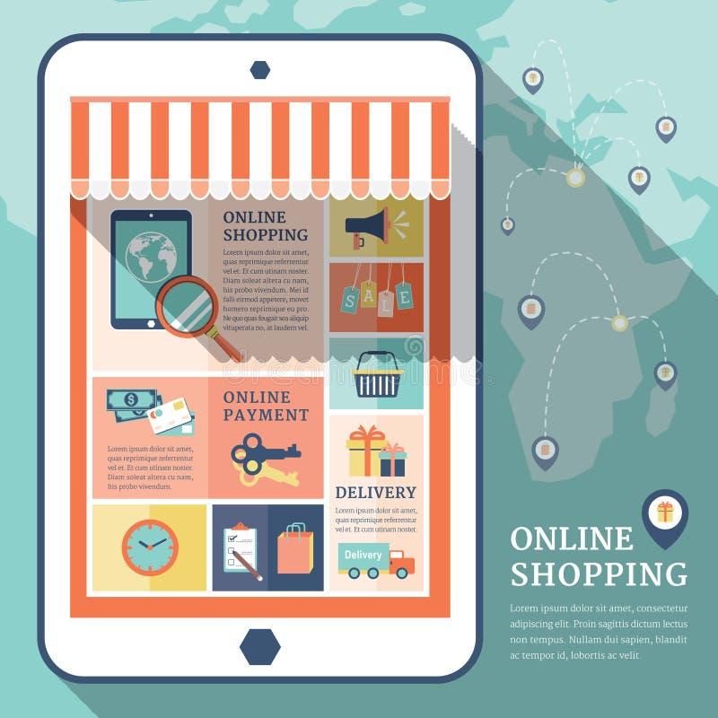 减速火箭的企业网上购物平的象 向量例证