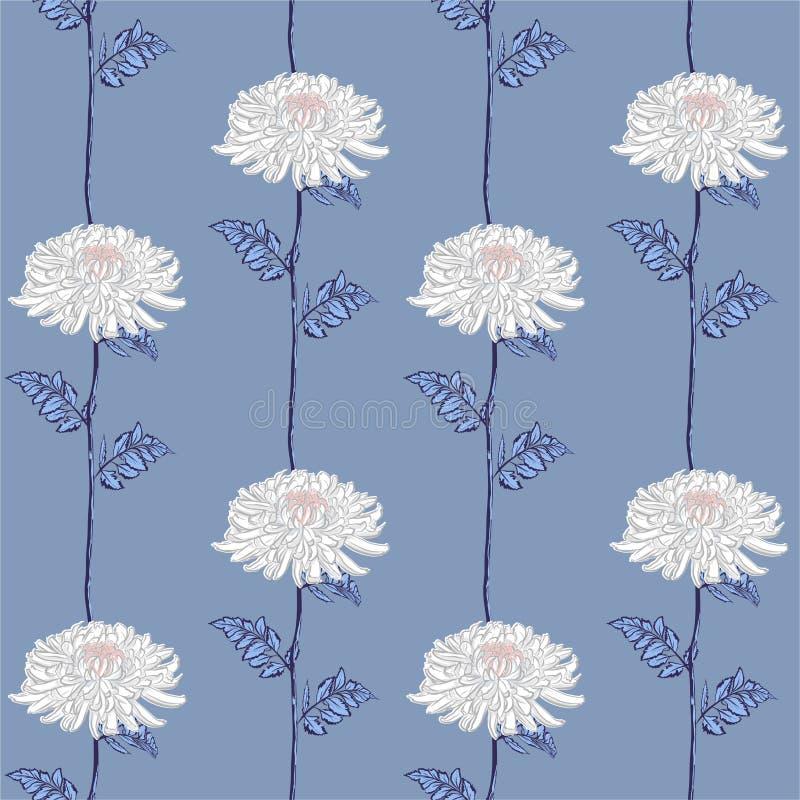 减速火箭的传染媒介无缝的花卉样式 开花的桃红色日本白色菊花花 在条纹垂直线的例证 库存例证