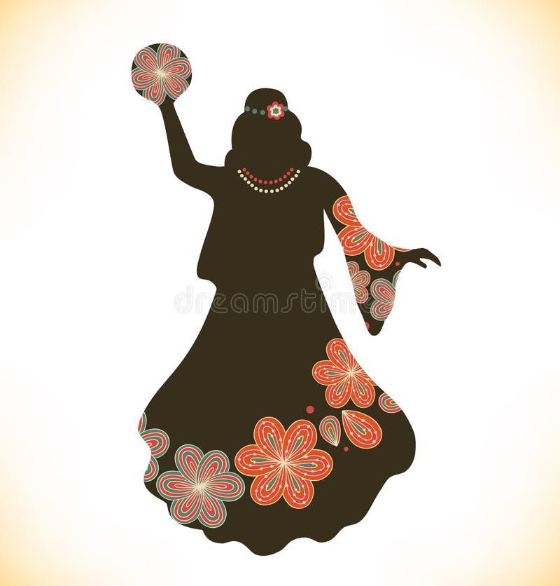 减速火箭的传统衣裳的跳舞妇女 葡萄酒礼服的女孩有小手鼓的 概略妇女剪影 吉普赛人 向量例证