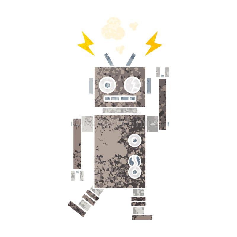 减速火箭的例证样式动画片发生故障的机器人 向量例证
