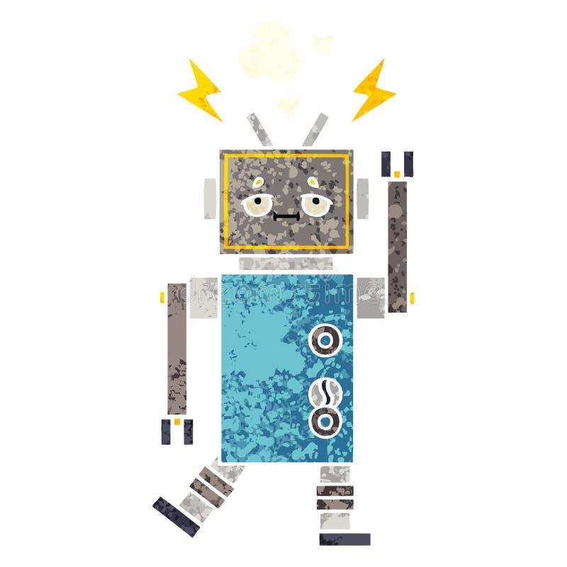 减速火箭的例证样式动画片发生故障的机器人 皇族释放例证