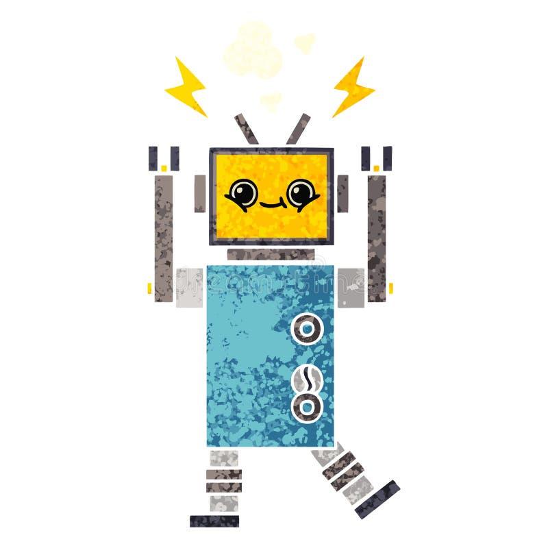 减速火箭的例证样式动画片发生故障的机器人 库存例证