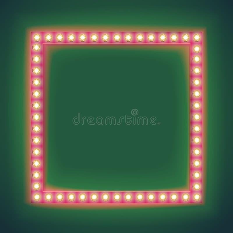 减速火箭的光亮的框架电灯泡 向量例证