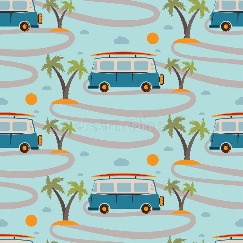 减速火箭的公共汽车冲浪板的无缝的样式在海滩的与棕榈 皇族释放例证