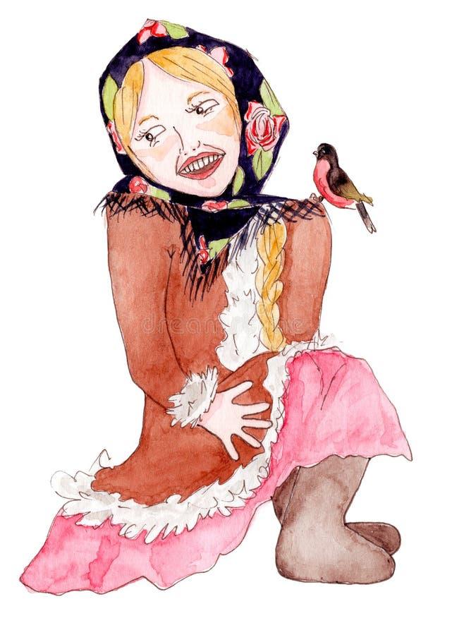 减速火箭的冬天衣裳的逗人喜爱的微笑的女孩 库存例证