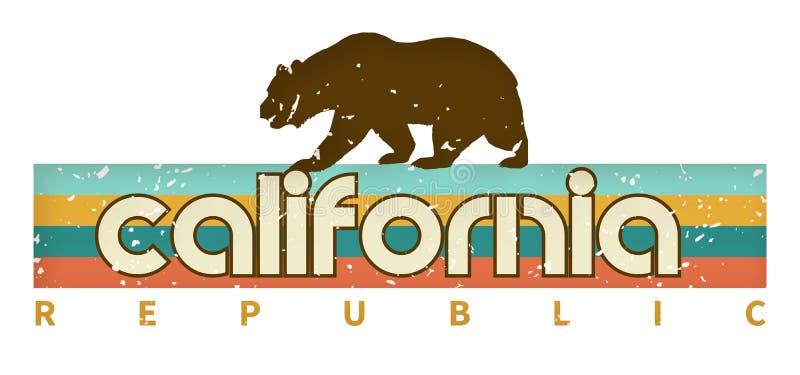 减速火箭的加利福尼亚T恤杉设计艺术旗子熊 库存例证