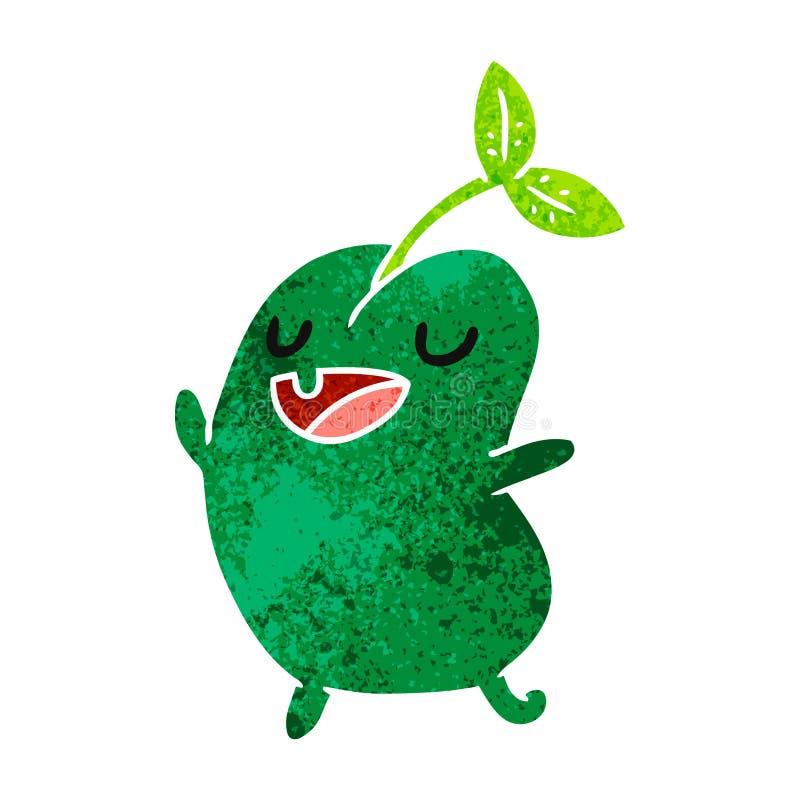 减速火箭的动画片kawaii逗人喜爱的发芽豆 皇族释放例证