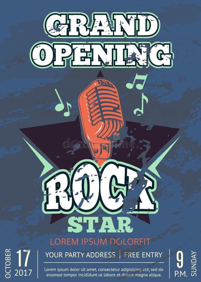 减速火箭的卡拉OK演唱俱乐部、音频记录演播室海报与破旧的音乐商标与话筒和星在难看的东西纹理 向量例证