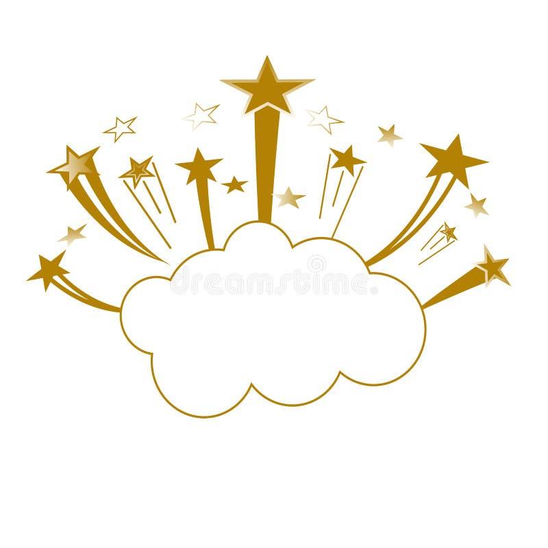 减速火箭的可笑的设计讲话泡影 与云彩的一刹那爆炸,闪电,星 皇族释放例证