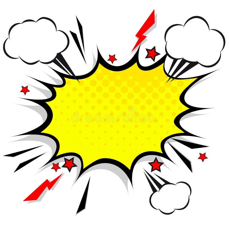 减速火箭的可笑的设计讲话泡影 与云彩的一刹那爆炸 向量例证