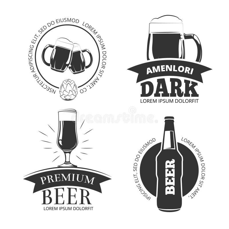 减速火箭的啤酒物品导航象征,标签,徽章,被设置的商标 向量例证