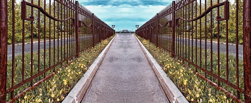 减速火箭的在旁边样式生锈的篱芭柏油路用黄色导致步行十字架的远的蓝色标志的蒲公英和绿草 皇族释放例证