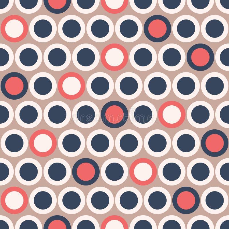 减速火箭的在深蓝的Mod传染媒介无缝的圆点样式,红色,在米黄背景的奶油 时髦的图表Abstratc印刷品 皇族释放例证