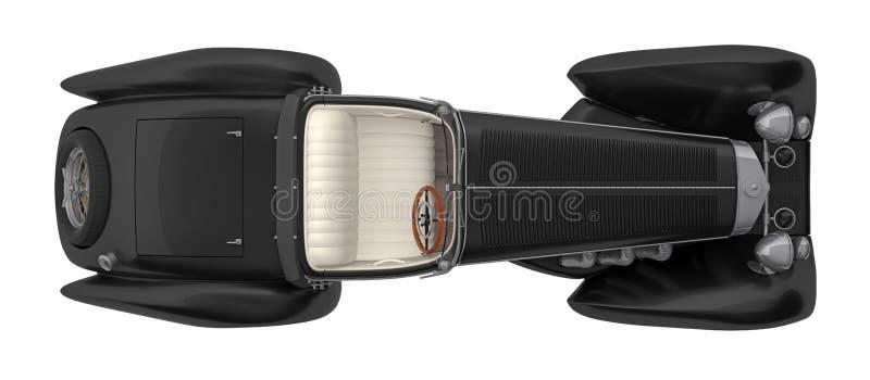 减速火箭的在白色3d翻译隔绝的汽车敞蓬车顶视图 皇族释放例证
