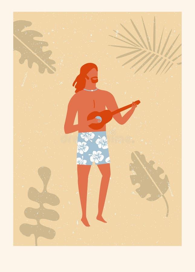 减速火箭的夏威夷海滩海报 皇族释放例证